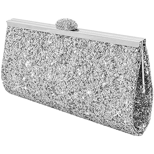 615ada290dd Wocharm Fashion Womens Glitter Clutch Bag Sparkly Silver Gold Black Evening  Bridal Prom Party Handbag Purse