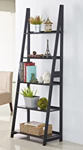 PJ Wood 5 Tier A-Frame Ladder Shelf - Black