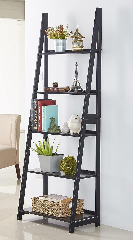 PJ Wood 5-Tier A Frame Ladder Shelf - Black