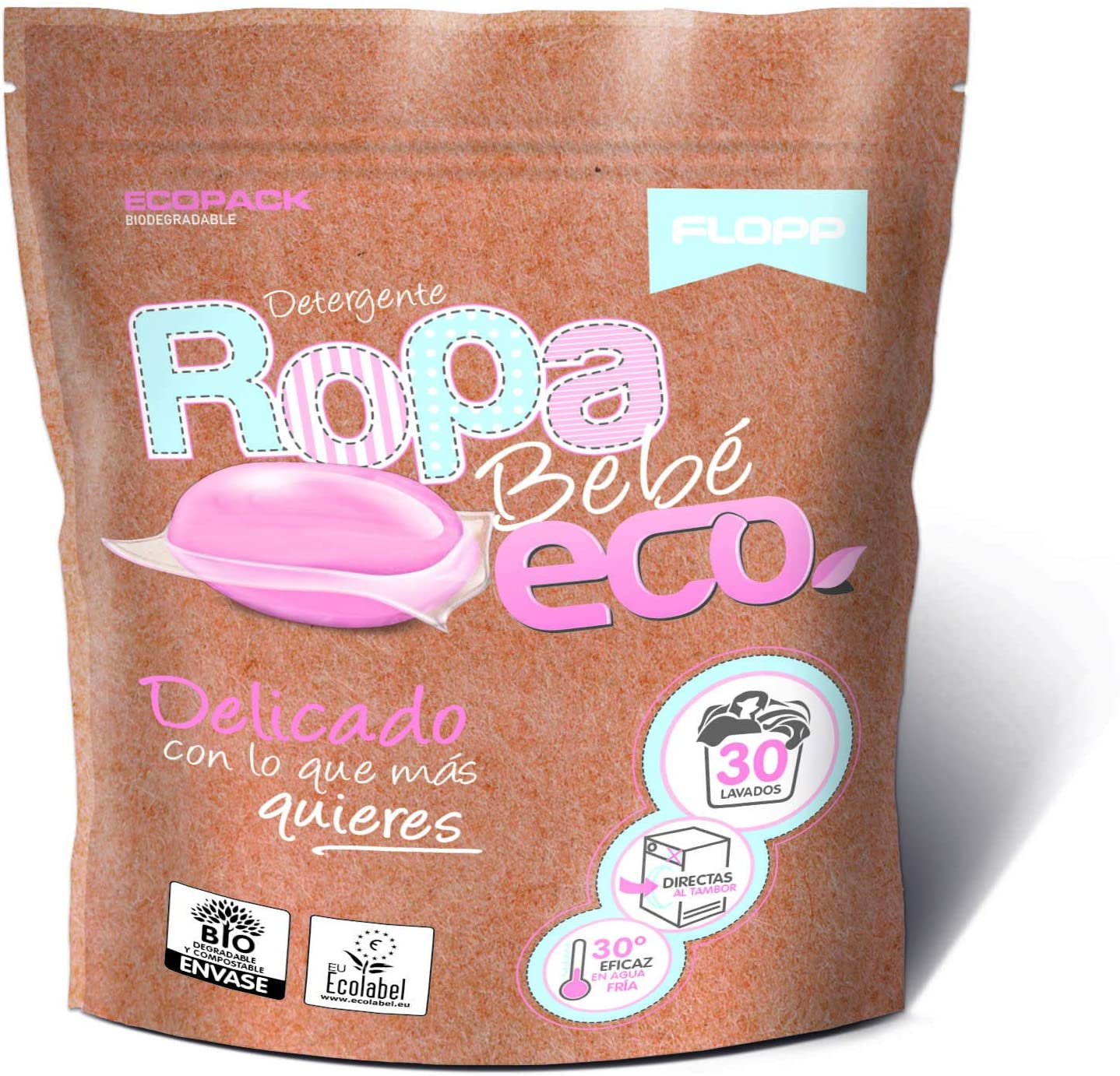 Flopp - Detergente Ecológico en Cápsulas para la Ropa de Bebé (30 capsulas) | Detergente Delicado