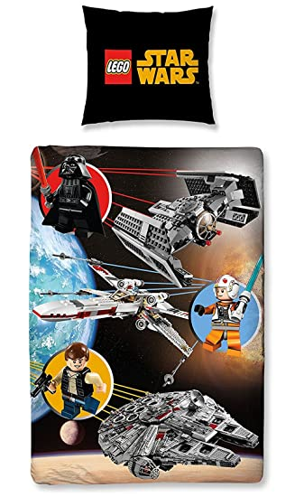 Lego Star Wars Bettwäsche Set 135x200cm + 80x80cm, Baumwolle, Space 0601