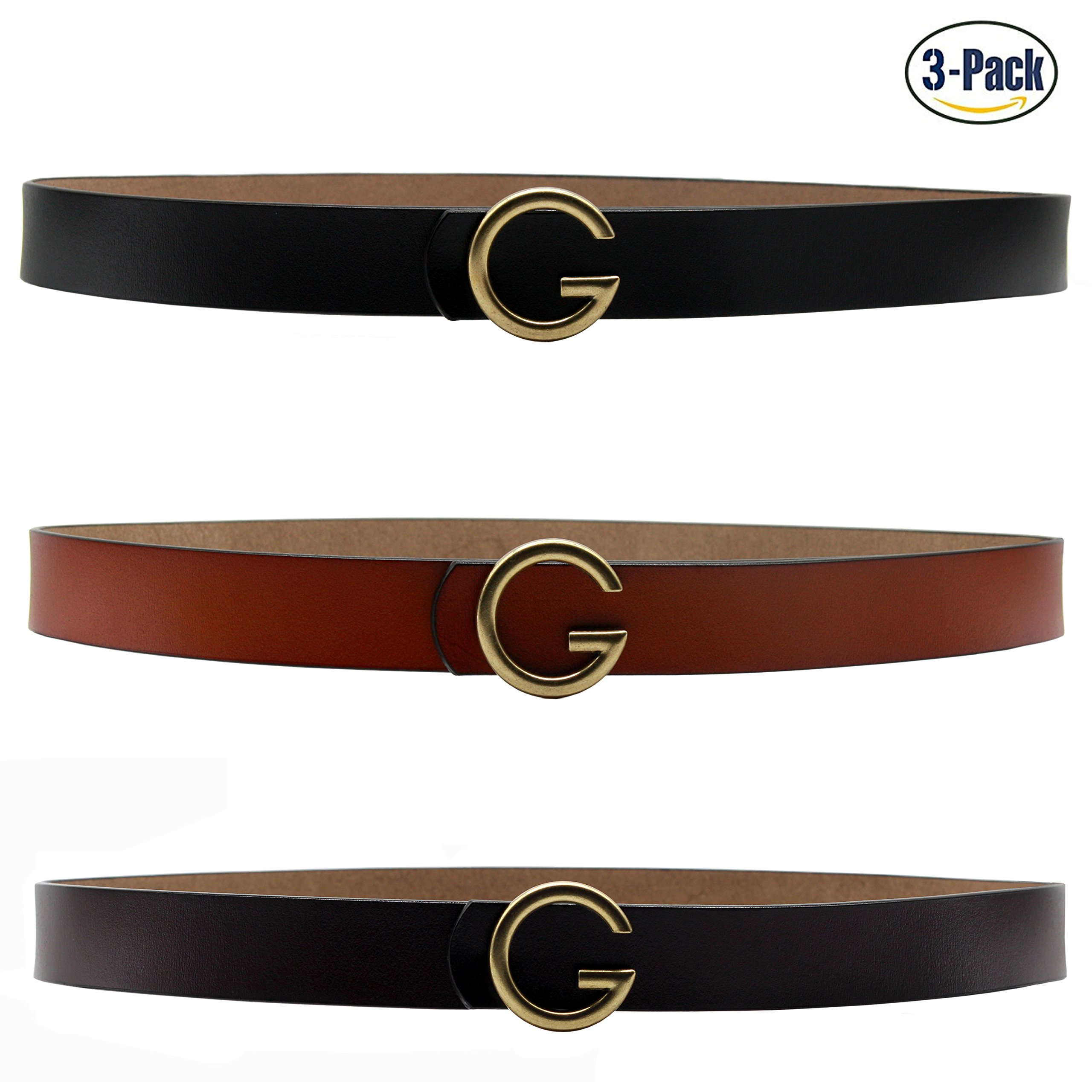 Set of 3 Women's Genuine Cowhide Leather Thin Dress Belt By ANDY GRADE (Style 2-Black,Brown,Orange)