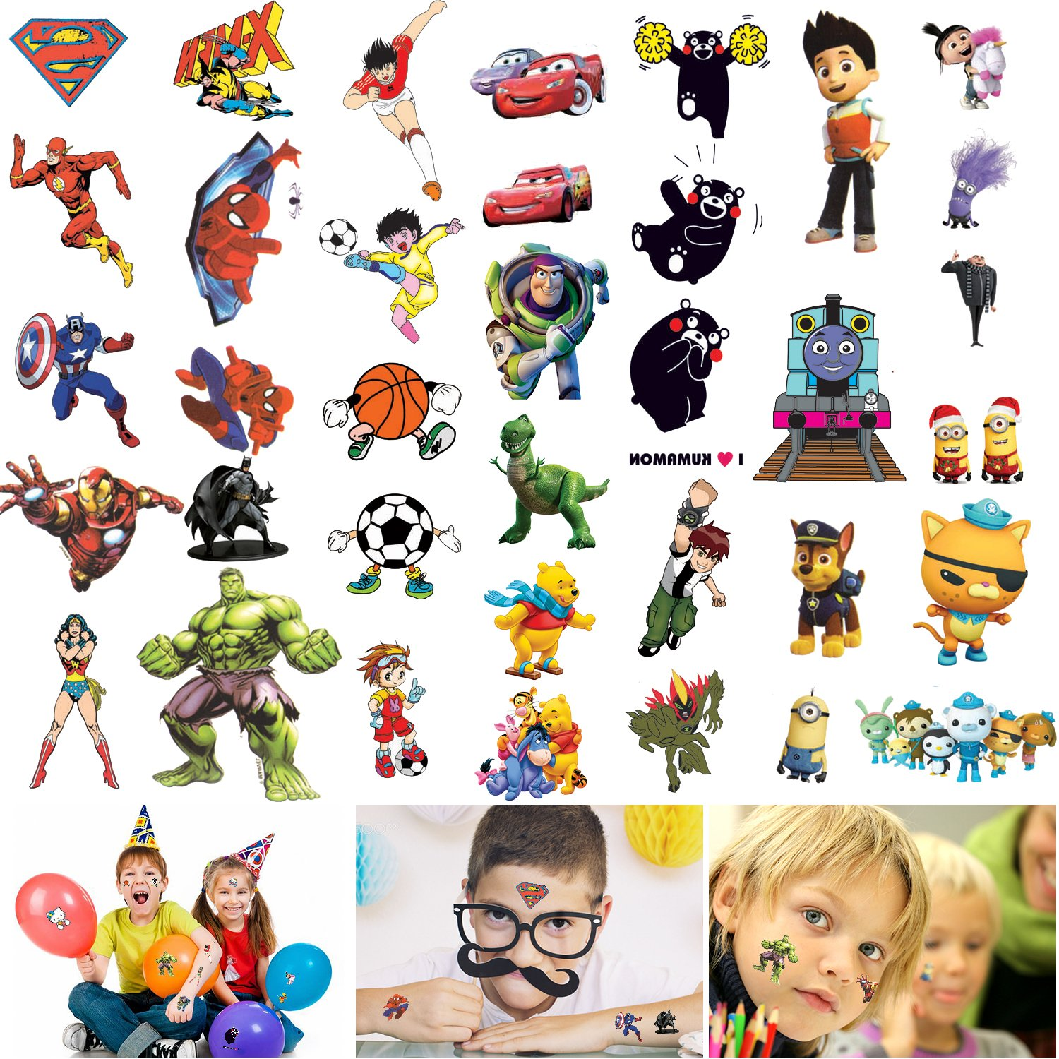 Temporary Tattoos for Kids Boys - 300 Tattoos on 18 Sheets, Super Hero Spiderman Batman Cars Thomas etc,Best for Party Favors Birthday Party Supplies School Fun Gifts