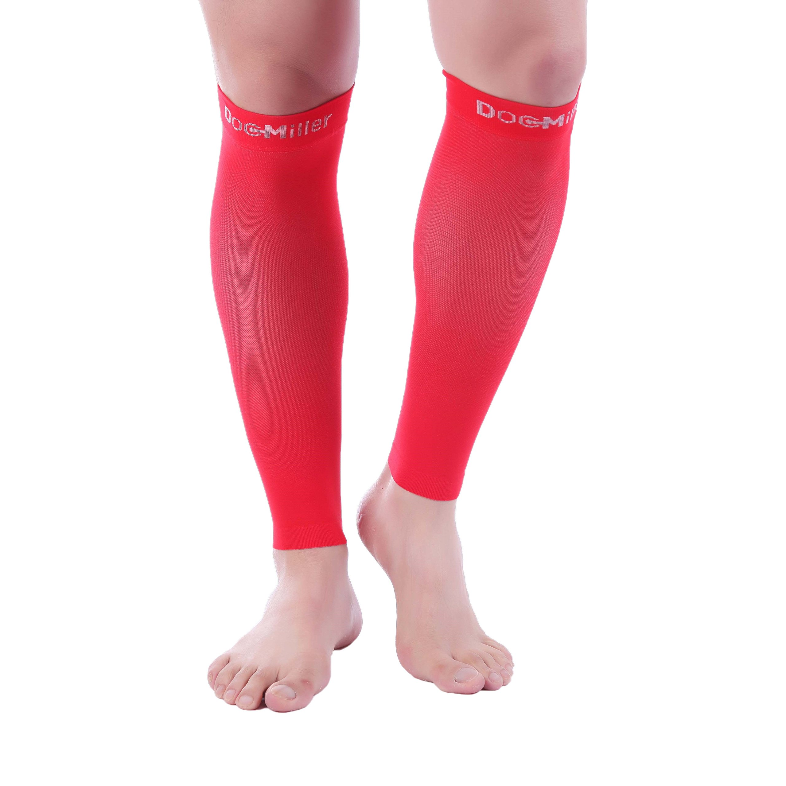 Doc Miller Premium Calf Compression Sleeve 20-30mmHg - 1 Pair Strong Calf Support Graduated Pressure for Sports Running Muscle Recovery Shin Splints Varicose Veins (Red, 2-Pack, XX-Large)