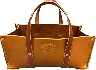 product image for Buffalo Leather Tote Tool Bag For Hand Tools, Gardening, Outdoorsmen, Heavy Duty Premium Storage Leather Organizer (Golden Brown)