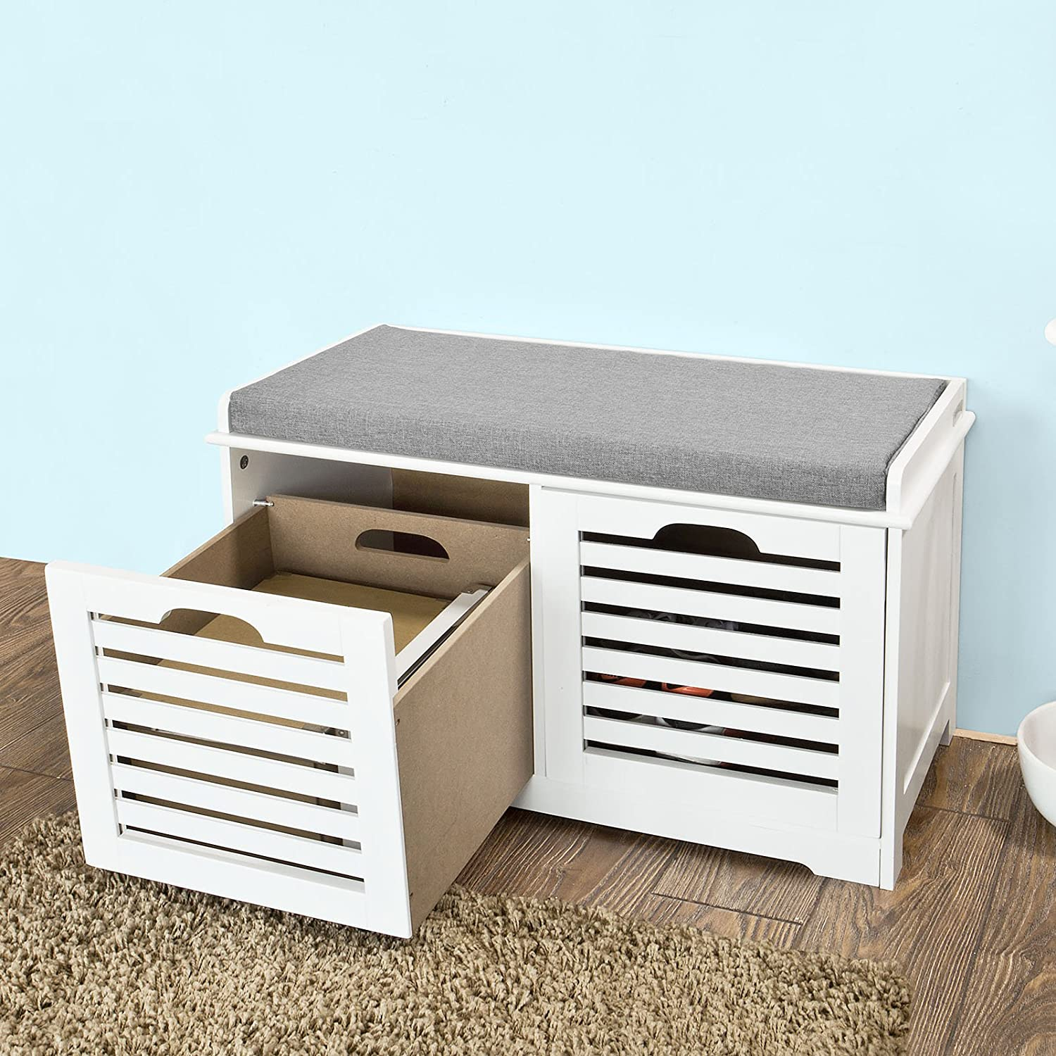 Shoe cabinet shoe bench white storage bench 2 drawers removable seat cushion new Shoe cabinet bench