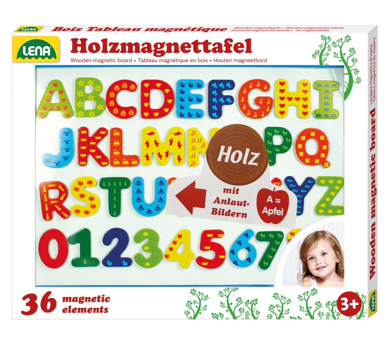 SIMM Spielwaren Lena 65822 - Lavagnetta magnetica con cornice in legno, incl. 26 lettere dell'alfabeto, dimensioni: 44 x 38 cm