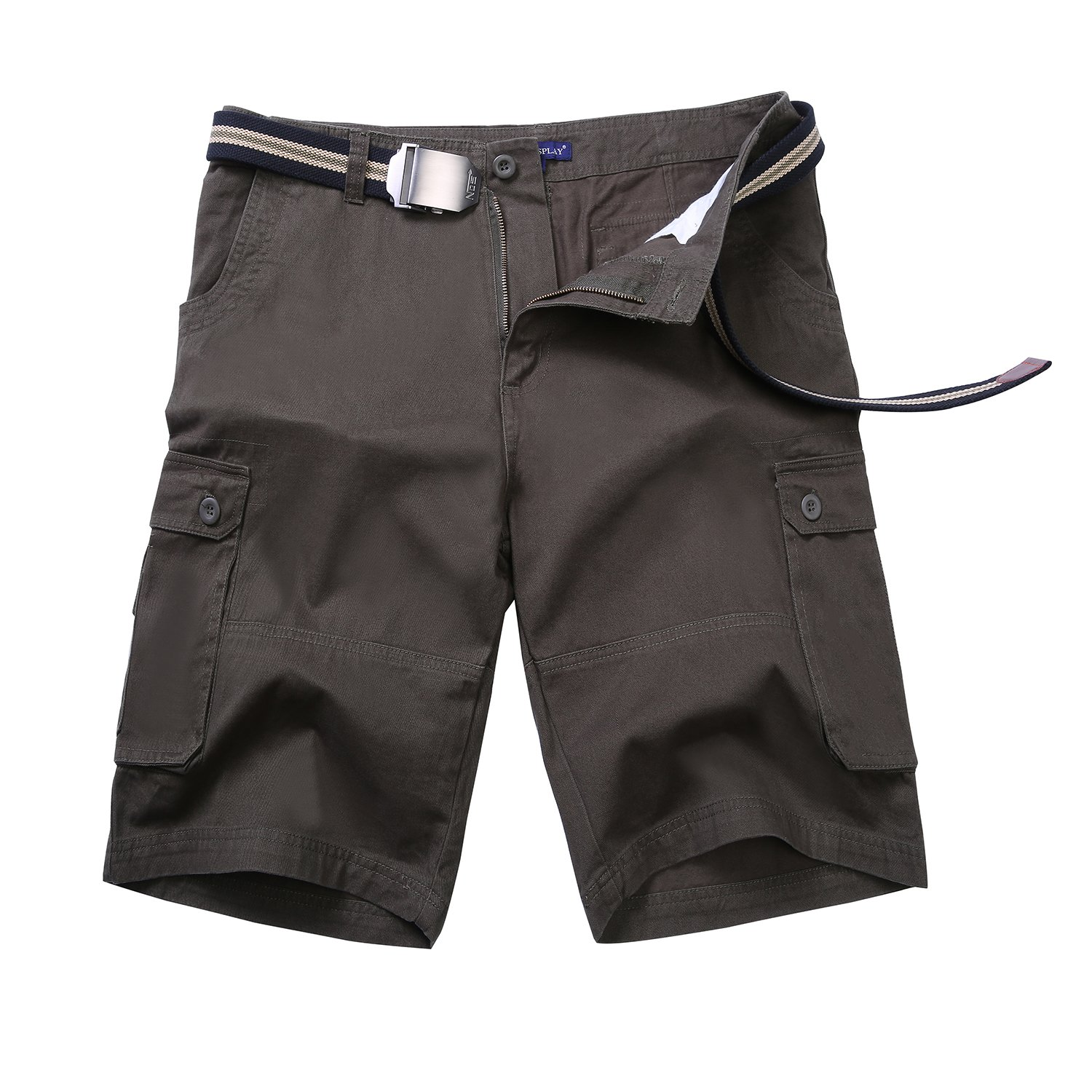 NEWCOSPLAY Men's Cotton Cargo Army Green Shorts (42, Army Green)