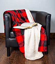 1i4 Group Outrageously Soft 50-by-60-inch Reversible Velvet Berber Throw, Buffalo Plaid