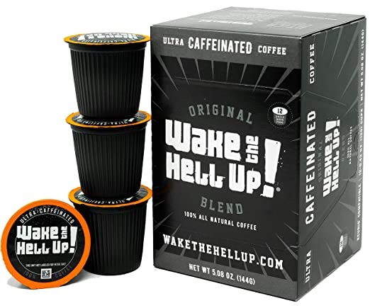 Wake The Hell Up! Dark Roast K-Cups Single Serve Capsules | Ultra-Caffeinated Coffee For Keurig K-Cup Brewers | 12 Count, 2.0 Compatible Pods | ...