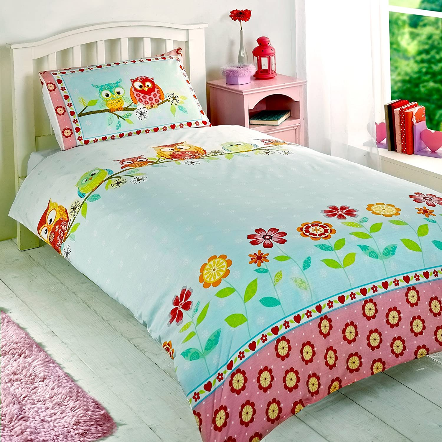 78e96dcd8f Childrens Girls Owls Duvet Cover Quilt Bedding Set, Single (Flowers,  Hearts, Pink, Yellow, Blue): Amazon.co.uk: Kitchen & Home