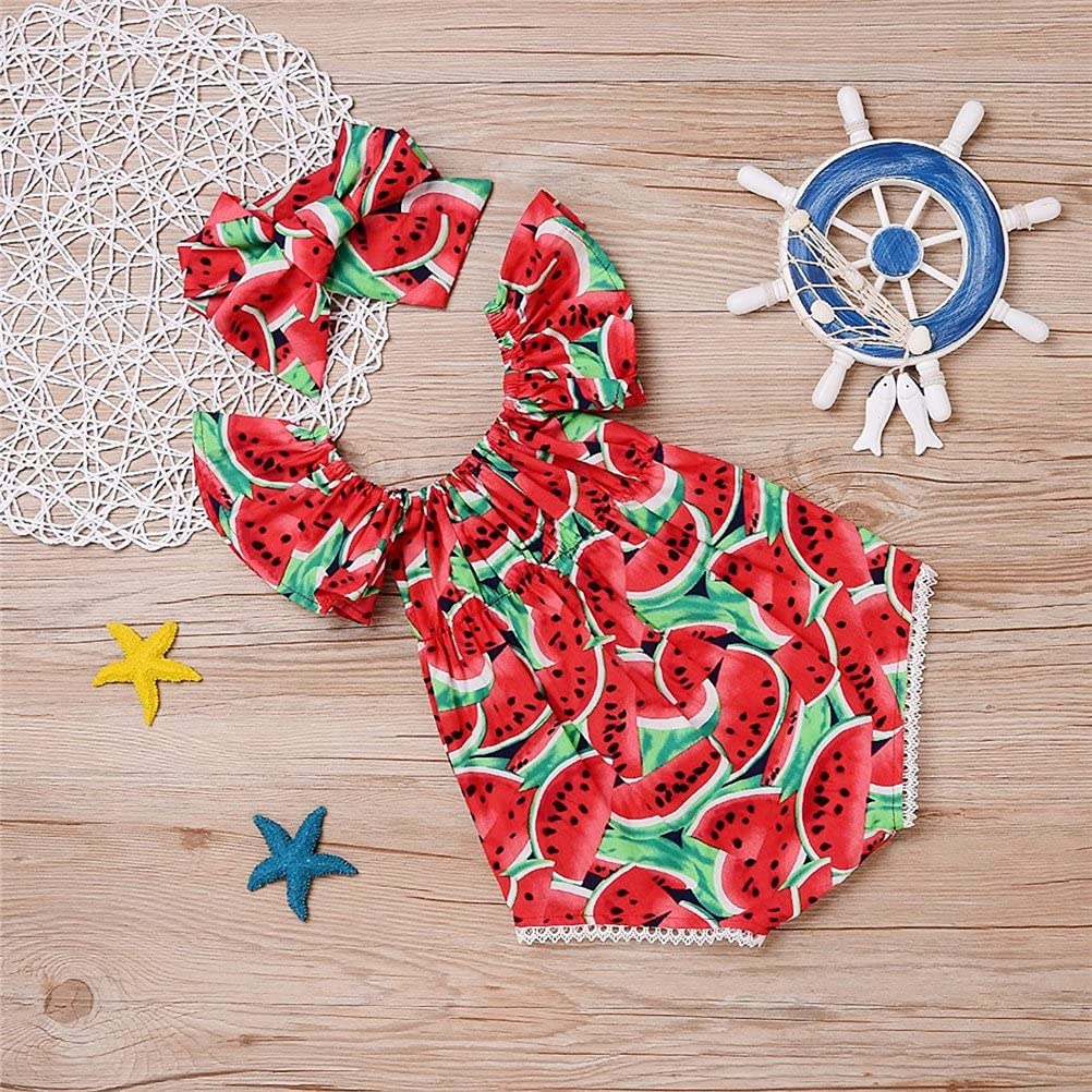 Baby Girls/' 2 Piece Watermelon Print Short Sleeve Romper Tops with Bow-Knot Headband