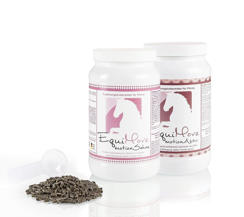 Je eine Dose (1,5 kg) EquiMove motion Sehne (SehnenPlus) & EquiMove motion Aktiv (SchmerzStop) - das Kombi-Angebot für dein Pferd, insbesondere zur Unterstützung bei schmerzhaften oder entzündlichen Sehnen-, Bindegewebs- oder Sehnenscheidenentzündungen