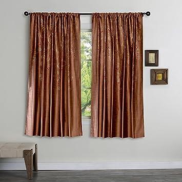 Deco Window Neera 4 Piece Polyester Window Curtain Set - 5 ft, Burgundy Curtains at amazon
