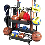 Jubao Sports Rack Organizer for Garage, Sports Gear Storage with Baskets and Hooks, Sports Equipment Organizer with Cap Holder and Ball Rack for Kids in Home and School