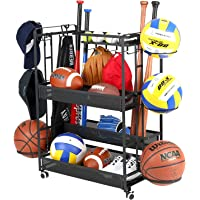 Jubao Garage Ball Storage Rack Rolling Sports Rack Organizer,Indoor Sports Gear Storage with Baskets and Hooks,Outdoor…