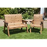 UK Made Fully Assembled Heavy Duty Wooden Garden Bench Love Seat Three Seater Bench With Triangular Table - Loveseat Duo Tete A Tete