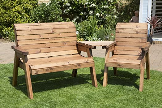 uk made fully assembled heavy duty wooden garden bench love seat three seater bench with triangular - Wooden Garden Furniture Love Seats