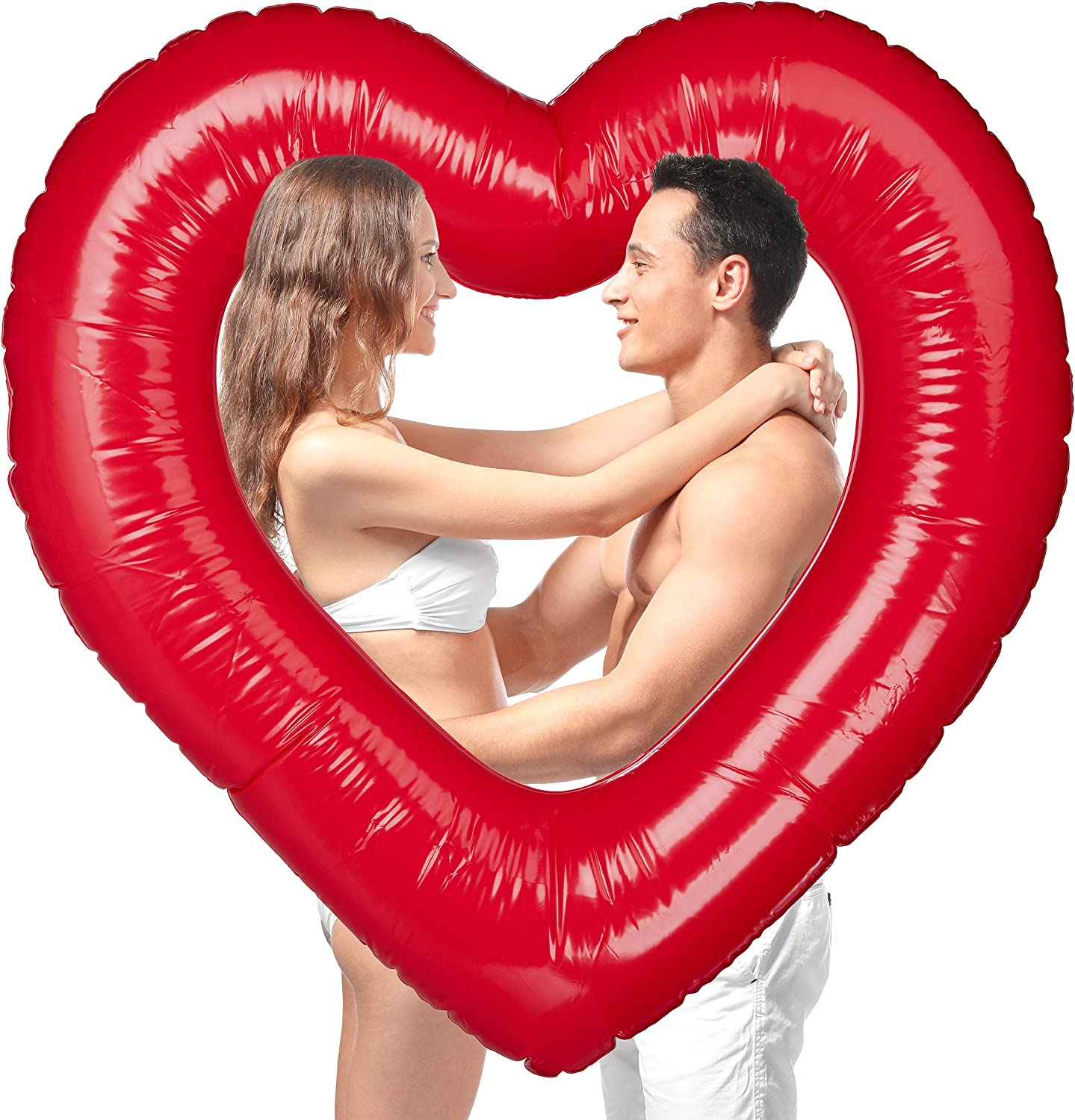 Relaxdays, Inflatable Heart-shaped Swimming Ring, For Weddings & Valentine's Day, Decor Or Gift, Red