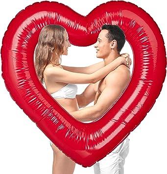Rot Herz Aufblasbare Schwimminsel Schwimmring Schwimmliege Luftmatratze