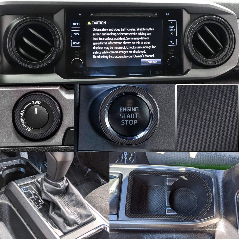 Optix Dashboard Interior Trim Vinyl Graphic Overlay Wrap Decal Compatible with Tacoma 2016 2017 2018 2019 2020 - Carbon Fiber Black