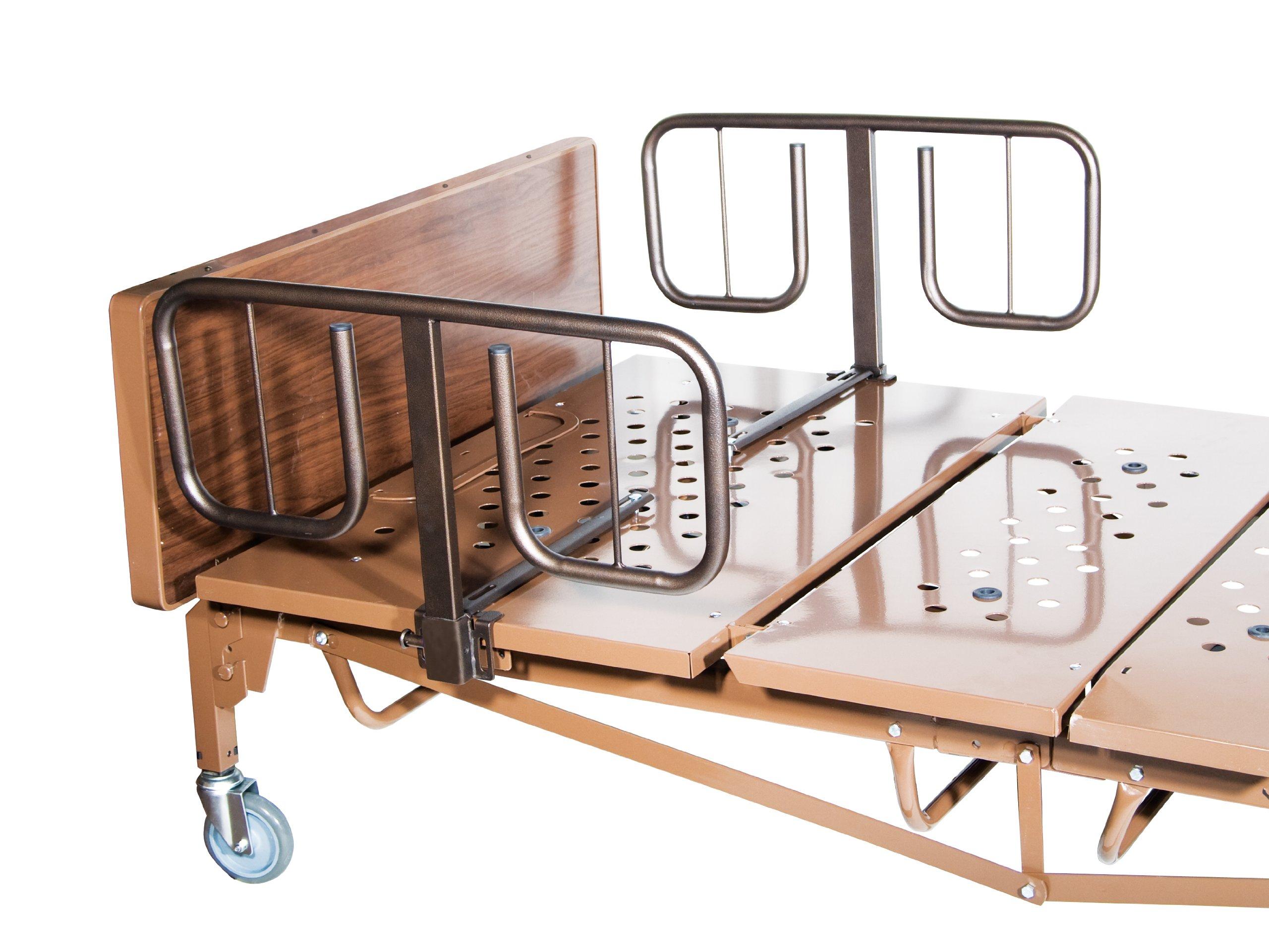 Drive Medical Half Length''T'' Style Bed Rails, Brown Vein, Half Length