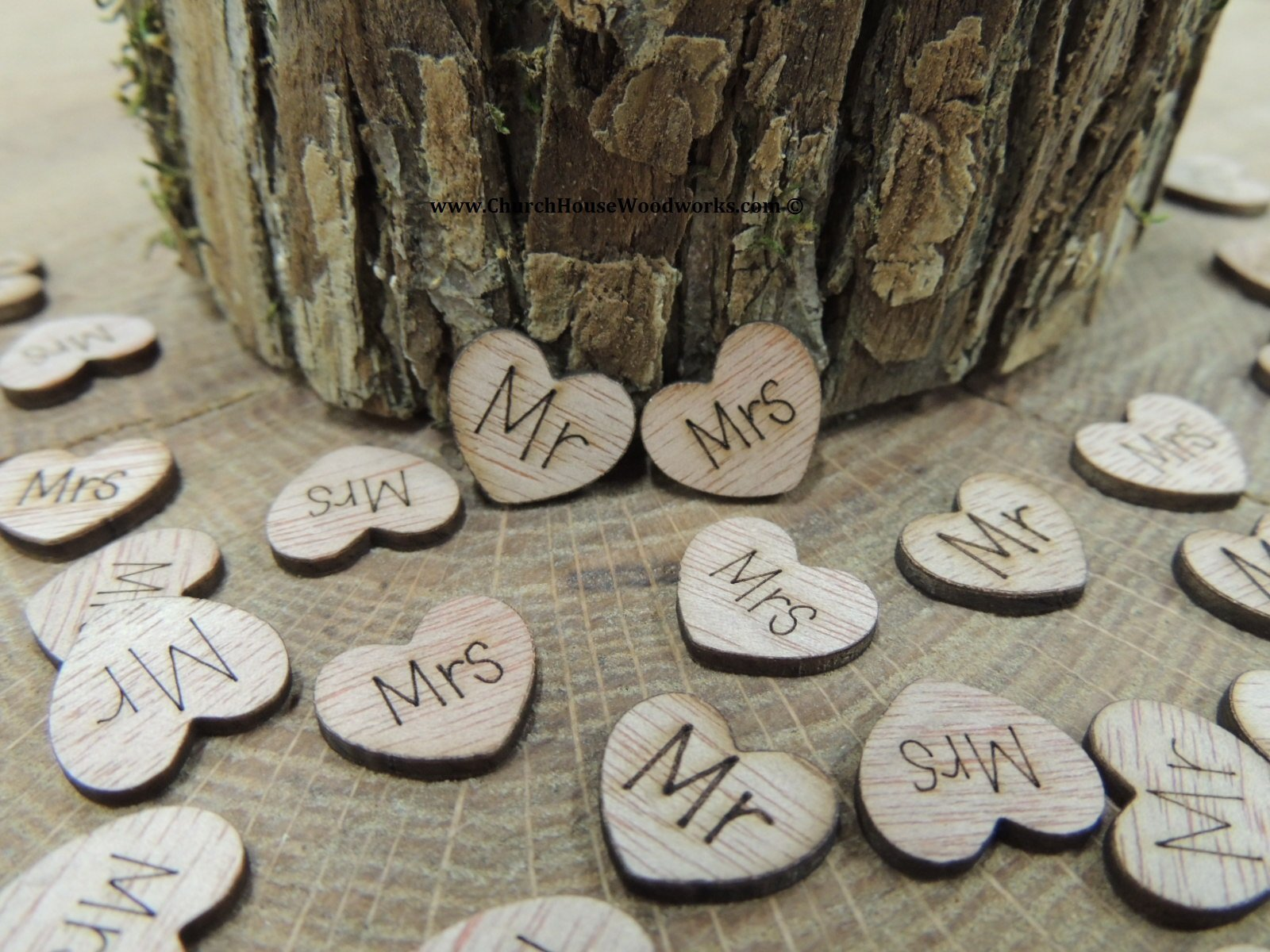 100 Mr Mrs Wooden Hearts