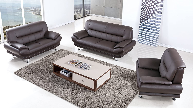 American Eagle Furniture 3 Piece Arcadia Collection Complete Genuine Leather Living Room Sofa Set, Dark Chocolate