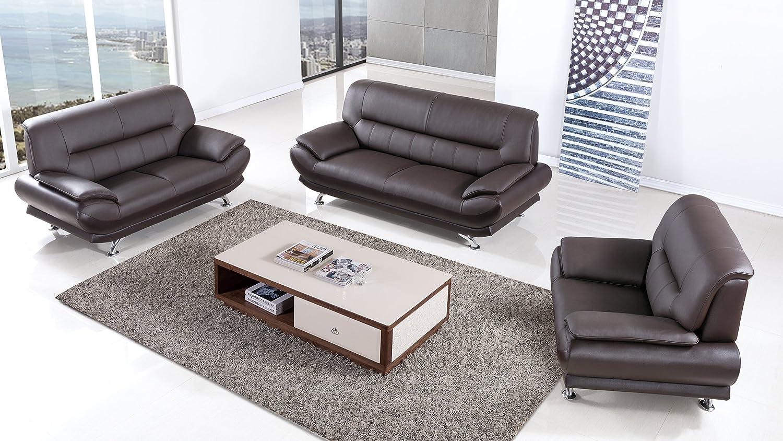 Amazon.com: American Eagle Furniture 3 Piece Arcadia Collection Complete  Genuine Leather Living Room Sofa Set, Dark Chocolate: Kitchen U0026 Dining