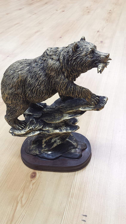 bronzed like bear eating fish statue wood base