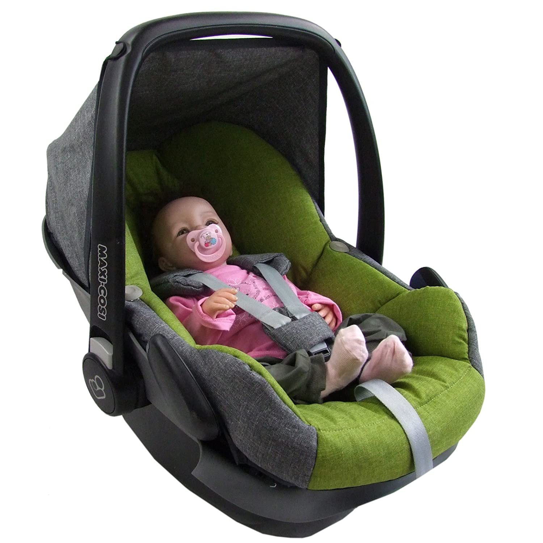 BAMBINIWELT Ersatzbezug für Maxi-Cosi PEBBLE 5-tlg, Bezug für Babyschale, Komplett-Set *NEU* GRAU/HELLGRÜN Bezug für Babyschale