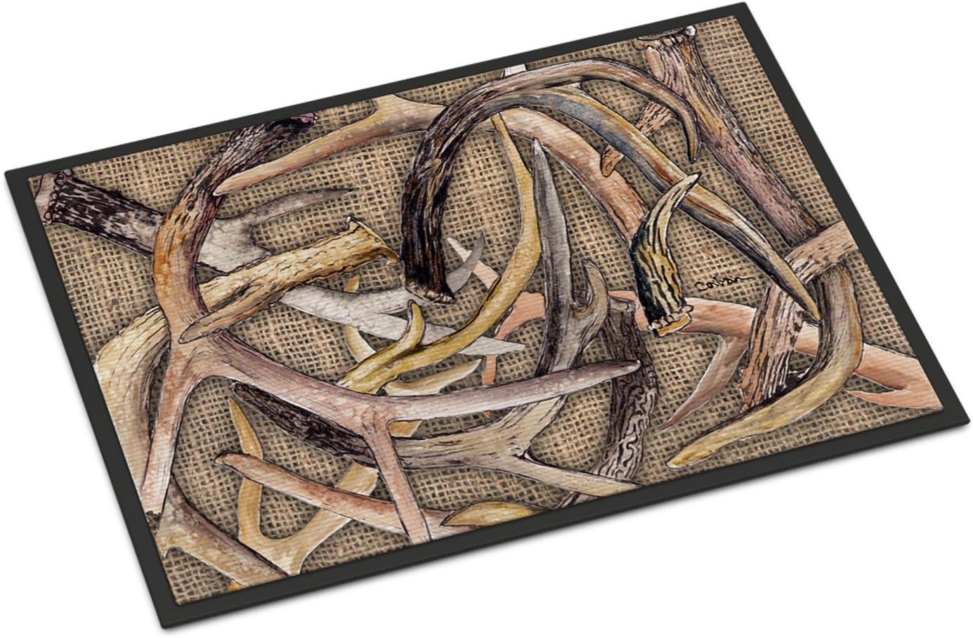 Caroline s Treasures 8732MAT Burlap Deer Horns Indoor or Outdoor Mat 18×27, 18H X 27W, Multicolor