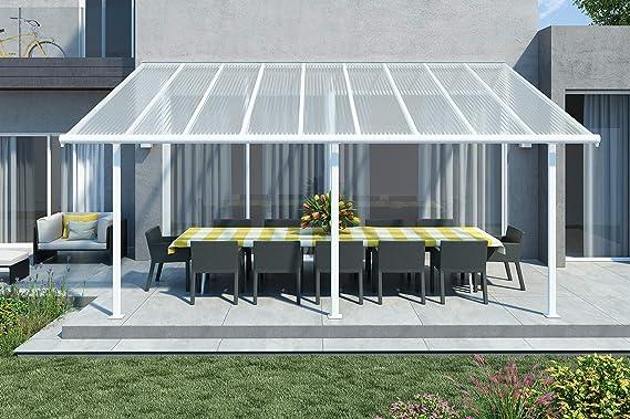 Palram Sierra - Cubierta de aluminio para terraza, 299 x 555 cm, incluye fijación y canalones, color blanco: Amazon.es: Jardín