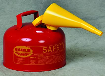 2-1//2 Gallon Capacity Flammables Red Pack of 2 11-1//4 Width x 10 Depth Eagle UI-25-FS Type I Metal Safety Can with F-15 Funnel