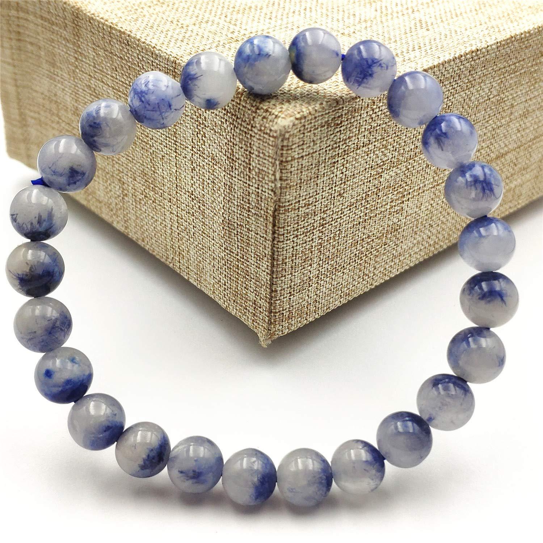 10mm Top Natural Blue Dumortierite Quartz Rutilated Crystal Rare Round Beads Women Men Bracelet AAAAA