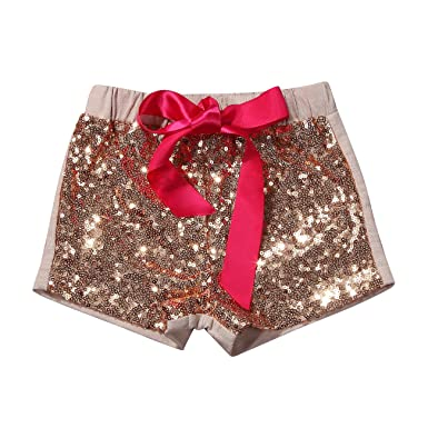 8024886af156 Viclearshop 1-5 Year Baby Girls Shorts Toddlers Short Sequin Pants with Bow  (Apricot