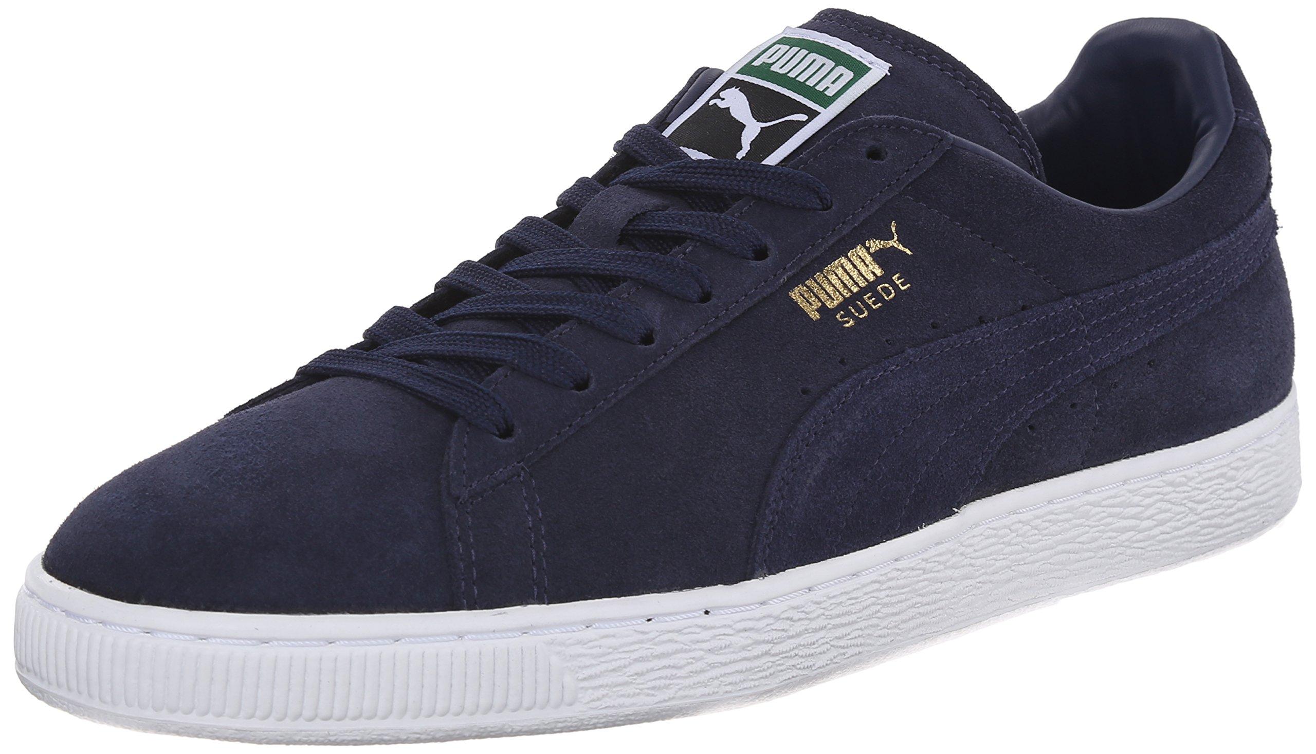 PUMA Men's Suede Classic + Lace-Up Fashion Sneaker, Peacoat/Peacoat/White, 13 M US
