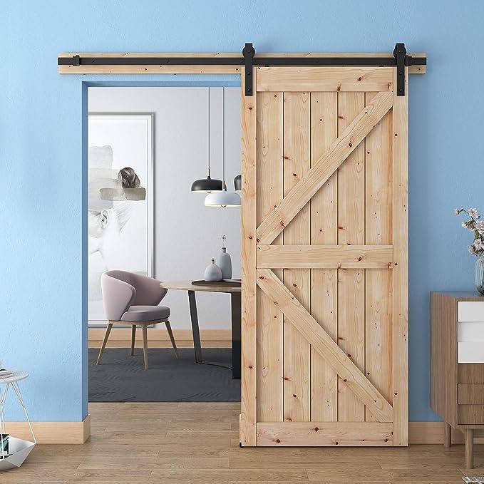 wbhome puerta corrediza de granero Hardware Set marrón 6.6 ft: Amazon.es: Bricolaje y herramientas