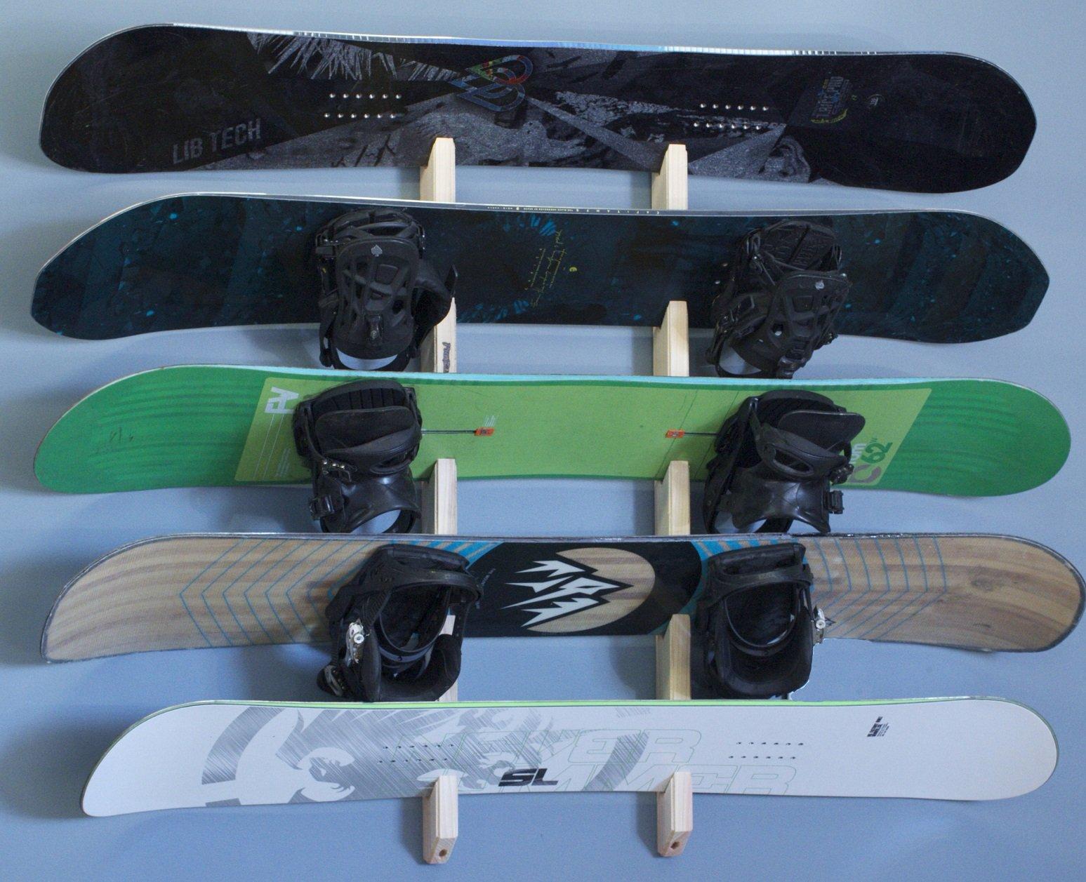 Snowboard Wall Rack Mount -- Holds 5 Boards by Pro Board Racks