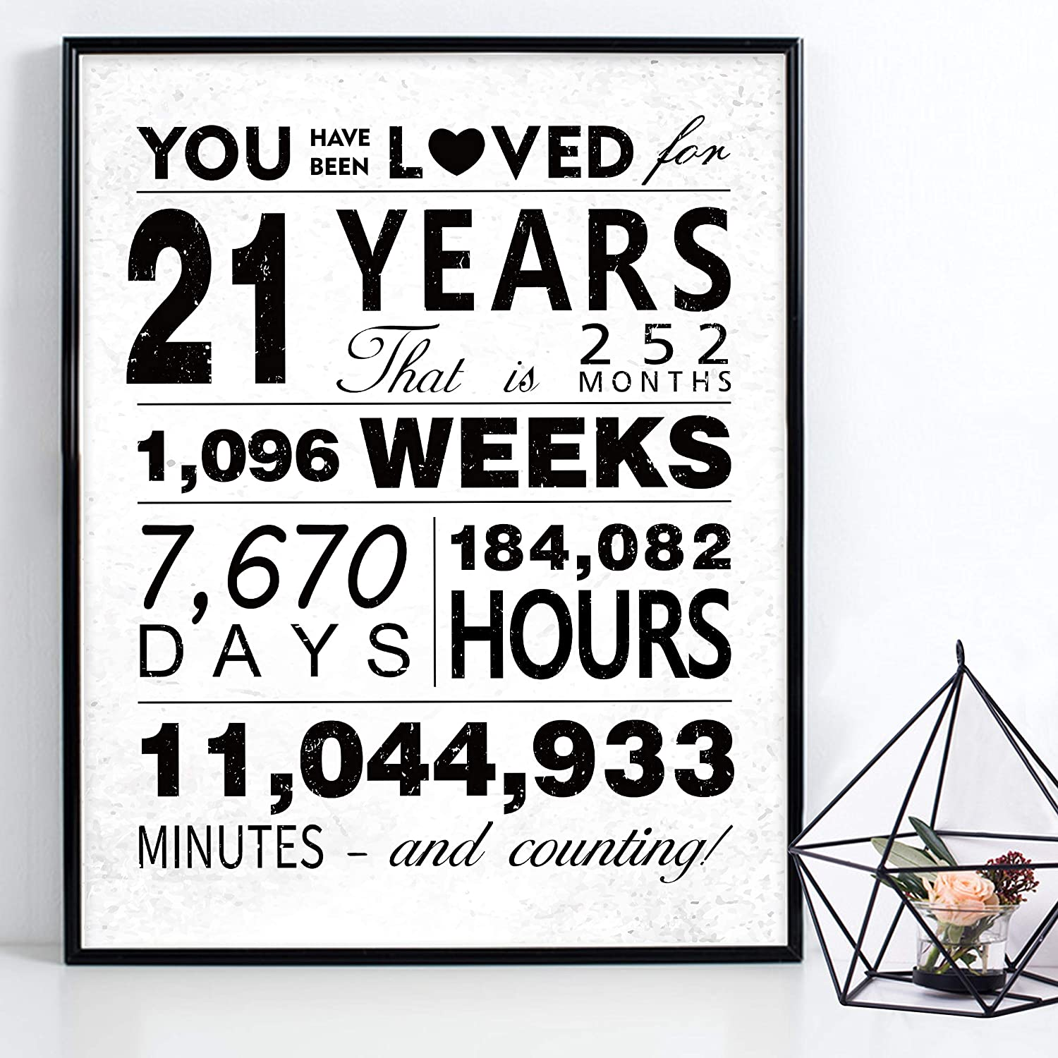"WATINC You Have Been Loved for 21 Years Poster, 11"" x 14"" Unframed Art Prints for 21th Birthday Decorations Party Supplies, 21th Anniversary Birthday Gifts for 21 Years Old Boys Girls Men Women"