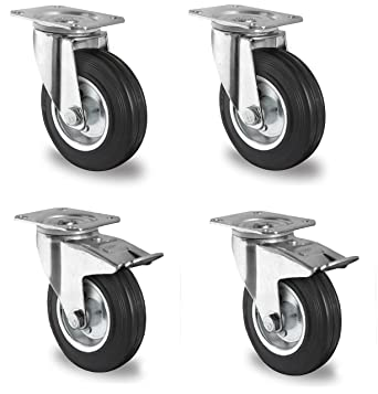 Juego de 4 ruedas de goma giratorias (100 mm)