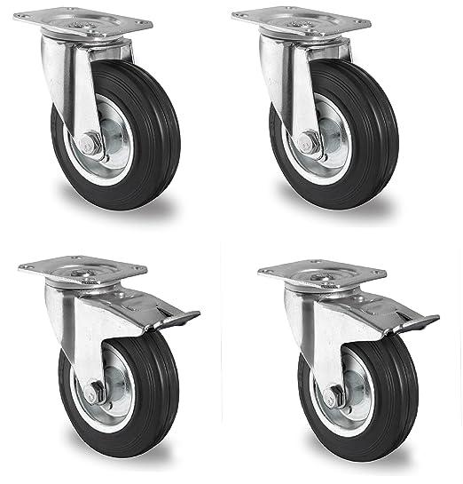 2 Set 125 Mm Sl Rollen Bremse Transportrollen Lenkrollen Blue Wheels Schwerlast Kunden Zuerst Pro-audio Equipment