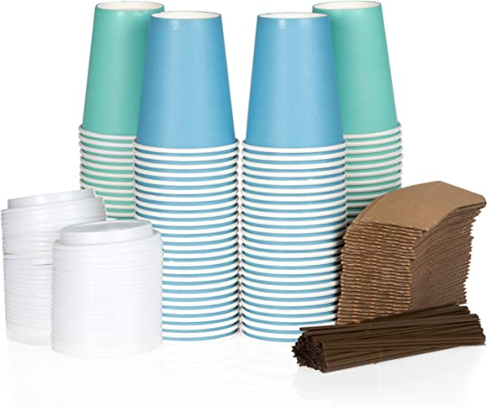 100 Pack 12 oz to Go Coffee Cups with Sleeves, Lids & Stirrers Disposable & Recyclable Blue & Green Paper Travel Coffee Cups