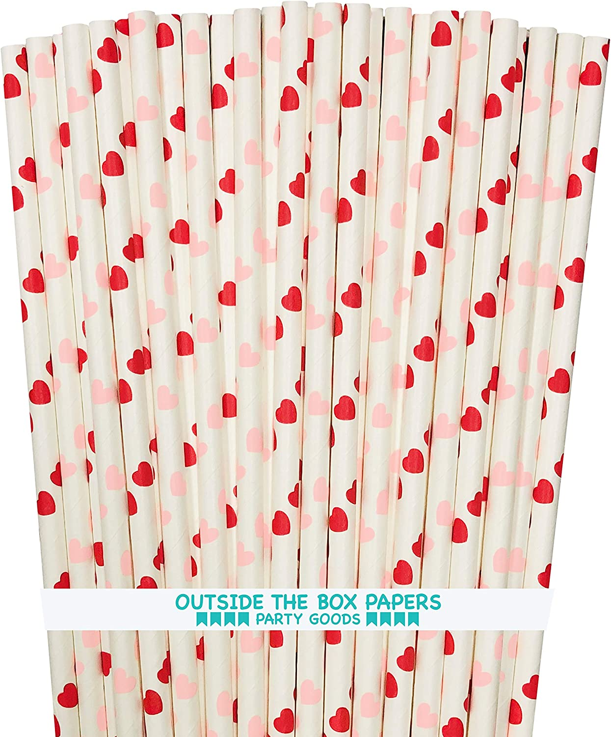 100 Pack Outside the Box Papers Brand Red and White Valentine Paper Drinking Straws 7.75 Inches Stripe Chevron Polka Dot