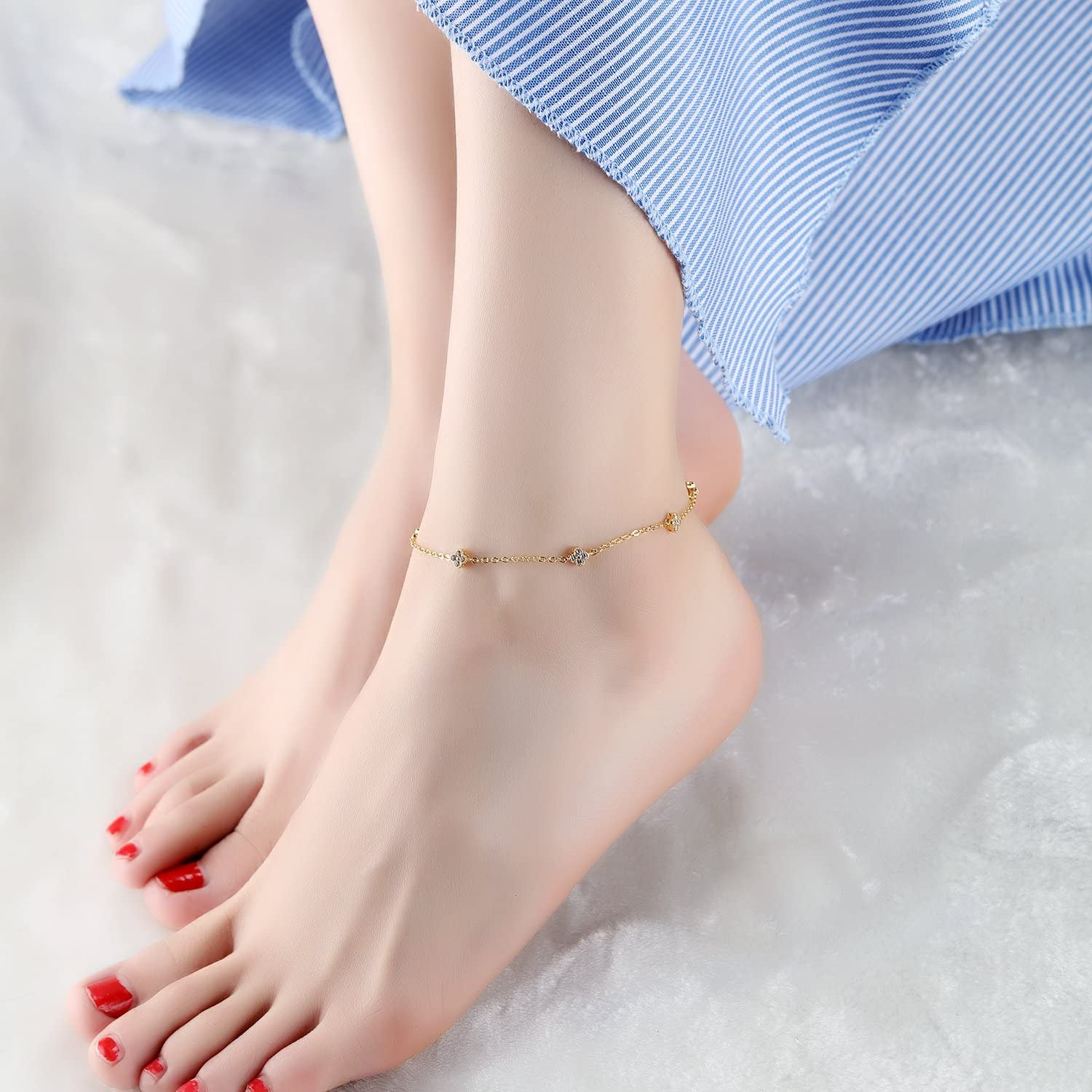 LOHOME Fashion Aanklets 18K Gold Tone Rhinestone Lucky Grass Charm Foot Chain for Women L7.8+1.9