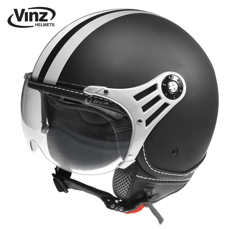 Vinz Rollerhelm Jethelm Fashionhelm   Roller Jet Helm mit Streifen   in Gr. XS-XL   Motorradhelm mit Visier   ECE zertifiziert (XL, Blau) Vinz Fashionhelm
