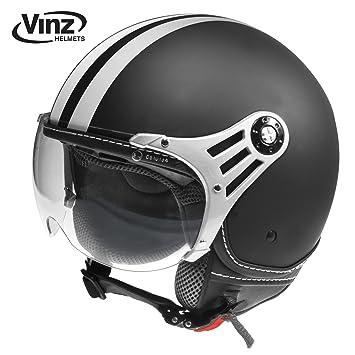 vinz Moto Casco, Casco Jet Casco Jet Fashion Casco Negro Mate con rayas blancas en