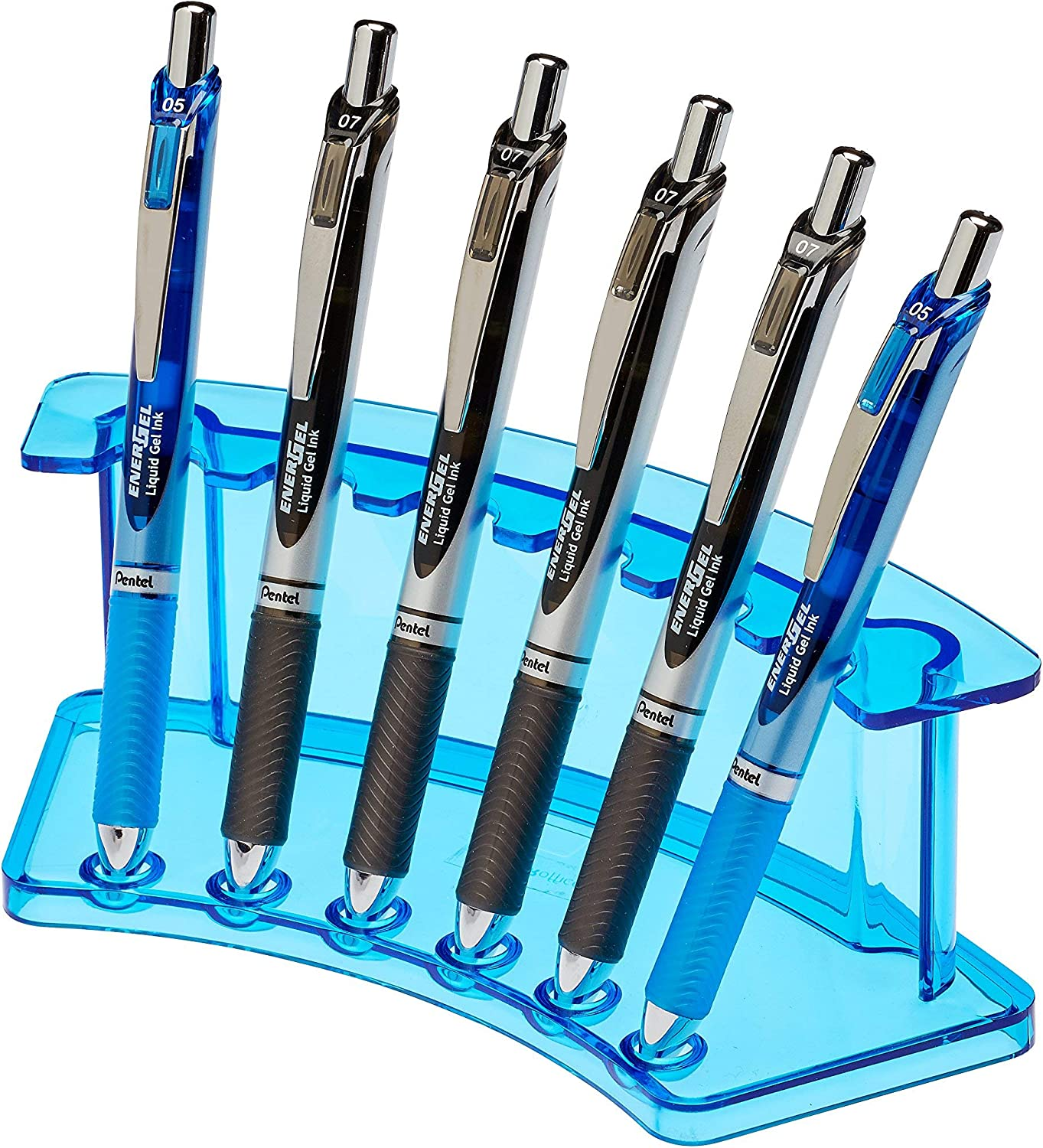 Amazon Com Adiroffice Vertical 6 Slot Display Stand Pack Of 2 Durable Acrylic Holder For Pens Pencils Organizer For Home Office Store Use Crystal Blue Office Products
