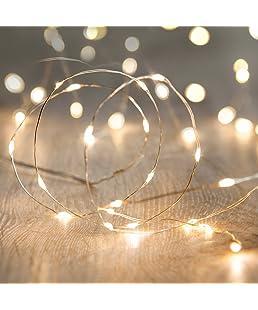 Lights4fun - Guirnalda de Luces con 20 Micro Led de Luz Perlada y Cálida de Pilas