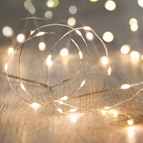 Lights4fun Battery Operated Fairy Lights with 20 Micro Warm White LEDs on Silver Wire